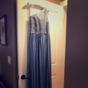 David's Bridal Blue Bridesmaid Gown